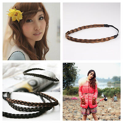 Ladies braided synthetic hair headband plait elastic hairband brown black blond