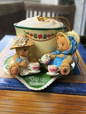 CHERISHED TEDDIES CHRISTMAS ORNAMENT BEARS ON Teacup Retired 406473 New in Box