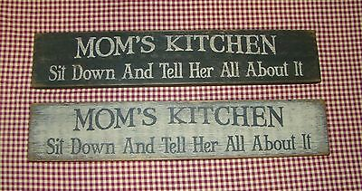 "Beautiful Rustic Primitive Sign/ Shelf sitter ""MOMS KITCHEN"" Home Decor"