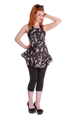 Hell Bunny Black ICE SCREAM Zombie Pin Up Diner Halloween Pinny Apron Fits 8-16