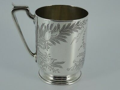 Superb Victorian Solid Sterling Silver Engraved Christening Mug London 1873 143G