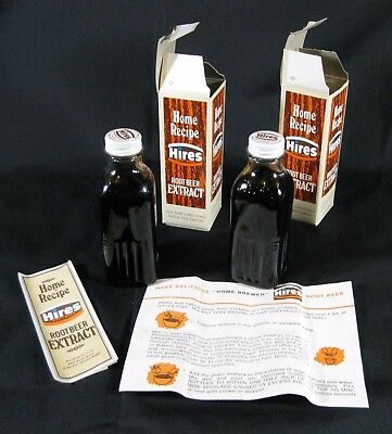Vintage Hires Root Beer Home Recipe Extract 2 Bottles w boxes Product Dried Up
