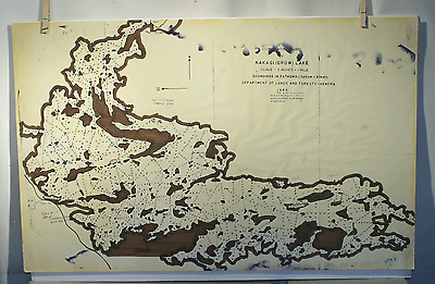 Vtg 1955 Kakagi Lake Hydrographic Chart Map Dept Of Lands And Forests Canada