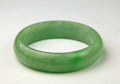 Carved Chinese Green Jadeite Jade Bangle Bracelet