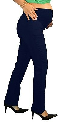 Navy Bootcut Work Attire Womens Maternity Pants Slacks Bottoms Blue Pregnancy