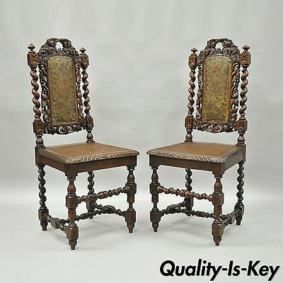 Pair Renaissance Revival Carved Oak Wood Black Forest Barley Twist Cane Chairs A