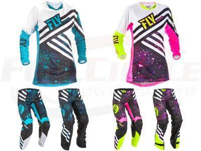 Fly Racing Kinetic Women's Girl's Blue/Blk Pink Jersey & Pants MX Gear Overboot