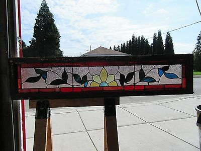 ~ ANTIQUE STAINED GLASS TRANSOM WINDOW ~ 61 x 13.5 ~ ARCHITECTURAL SALVAGE ~