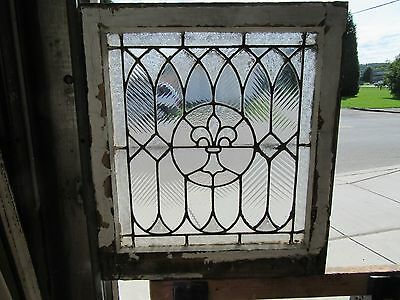 ~ Antique Stained Glass Window ~ Fleur De Lis ~ 2 Of 2 ~ Architectural Salvage ~