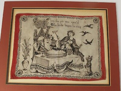 """Antique 19th.c Nursery Rhyme """"When The Pie Was Opened The Birds"""" Handkerchief"""