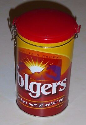 official FOLGERS COFFEE metal CAN clamp lid collectible houston harvest brand