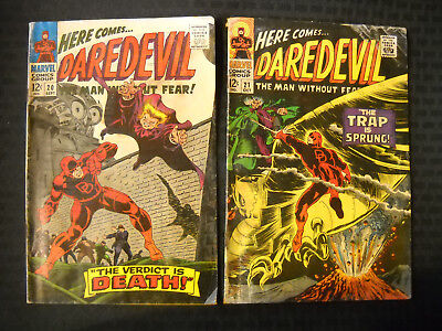 Daredevil Lot Of 2 Issues #20 And #21. Silver Age Marvel Comics Group