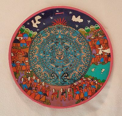 """Colorful Mexican Folk Art Hand Painted 11"""" Pottery Plate Mayan Calendar, Hangs"""