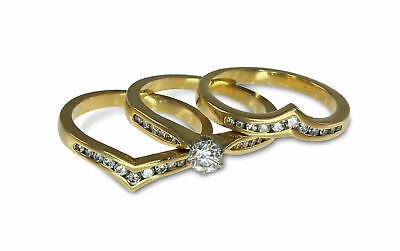 18k Yellow Gold .90ct Diamond Engagement/Wedding/Anniv. 3 Ring Bridal Set P #388