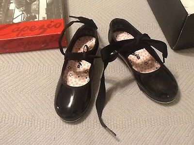 New Capezio Jr Tyette TeleTone Tap Dance Shoe Child Pat Black in diff sizes N625