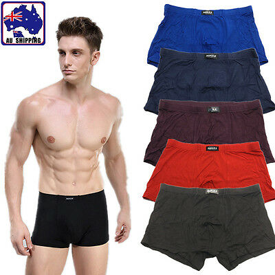 Bamboo Fiber Men's Hipster Brief Underwear Boxer Briefs Solid Colour CPAN844