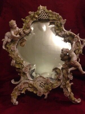 Antique Dresden Porcelain Easel Mirror Putti Cherubs Beveled Glass