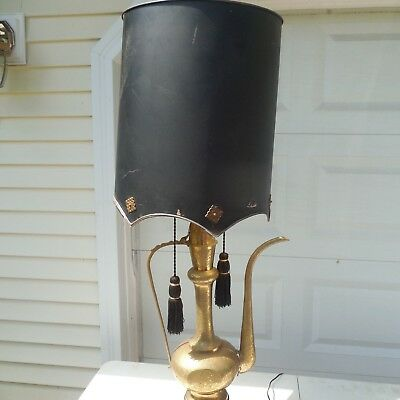 Vintage Brass Arabian Middle Eastern Pitcher Lamp