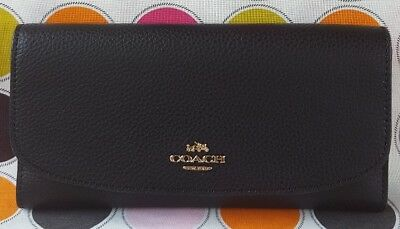 New Coach Pebbled Leather Trifold Wallet in Black (NO CHECKBOOK HOLDER).