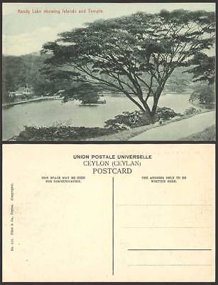 Ceylon Old Postcard Panorama KANDY LAKE Islands, Temple