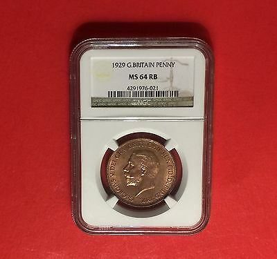 Great Britain -Unc 1929 Pwnny Rb-Certified By Ngc-Ms 64