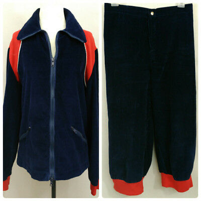 VTG 70s Cross Country Ski Jacket Knickers Blue Corduroy Womens M 28 Waist Canada