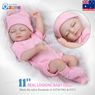 "11"" Handmade Real Looking Newborn Baby Silicone Realistic Reborn Dolls Girl Gift"