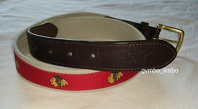 Vineyard Vines Boys Size 30 Red Indian Chief Canvas Leather Club BELT