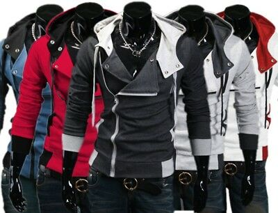 Vogue mens Jacket Creed Hoodie Cool Slim For Assassins Cosplay Costume