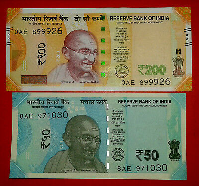 India New Rs.200 & 50 Rupees UNC Gandhi Note Just Released 2017 Set ~Urjit Patel