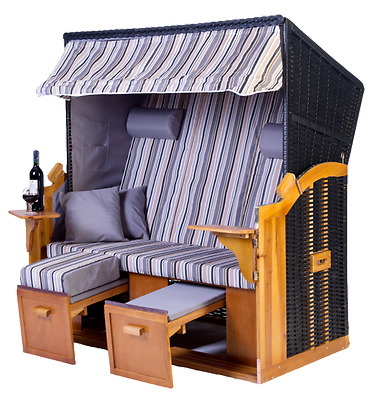 zweisitzer strandkorb klappbare r ckenlehne 2 personen. Black Bedroom Furniture Sets. Home Design Ideas