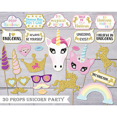 Rainbow Unicorn Pegasus Photo Booth Props Kit Party Camera Props Decorations