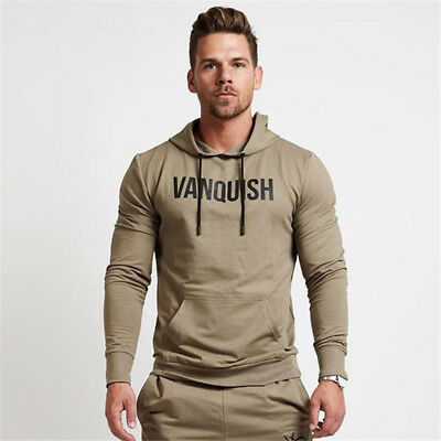 Mens Vanquish Logo Athletic Coats Muscle Fitness Gym Pullover Breathable Cotton