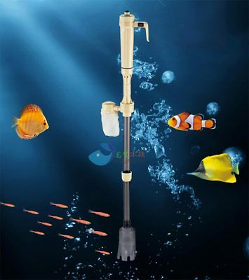 Aquarium Battery Syphon Auto Fish Tank Vacuum Gravel Water Filter Washer Cleaner