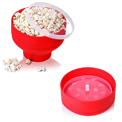 Collapsible Silicone Microwave Oven Hot Air Popcorn Popper Maker Bowl With Lid