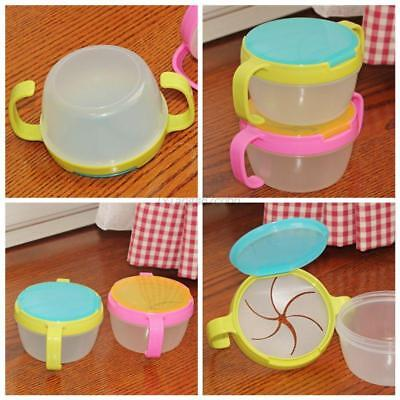 Non Spill Feeding Container Toddler Baby Spill-Proof Food Snack Bowl Green Pink