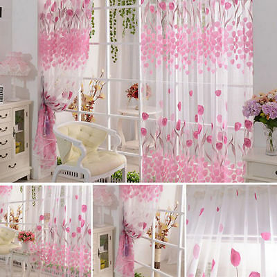 Room Voile Window Curtains Room Pink Tulip Pattern Sheer Panel Drape Curtains