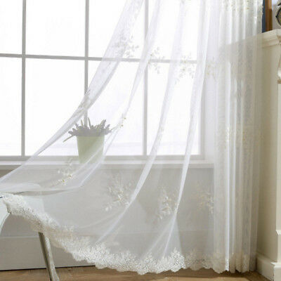 Embroidery Sheer Curtain Beads Decorative Lace Tulle White Graceful Drape 1piece