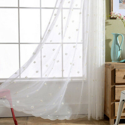 Flower Beads Stitched Sheer Lace Curtain Voile Luxury Mesh Window Scarves 1piece
