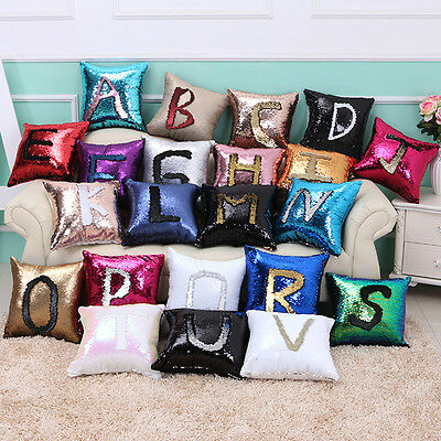 Double Color Reversible Sequin Mermaid Glitter Pillow Case Sofa Cushion Cover