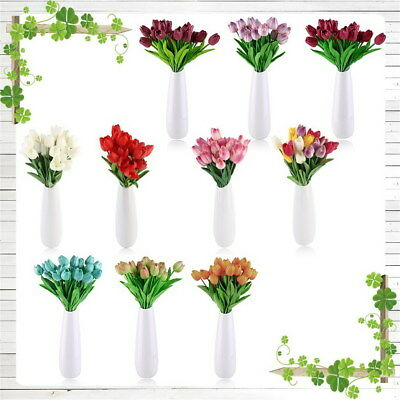 25 Heads Artificial Tulip Flowers For Home Wedding Bridal Bouquet Decoration New