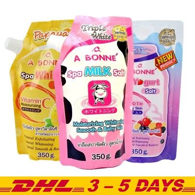 350g Pack of 2 : A Bonne Spa Milk Salt, WhiteC Salt, Yogurt Salt Whitening Scrub