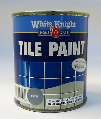 WHITE KNIGHT TILE PAINT SILVER 500ml GLOSS New