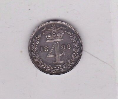 1886 Victoria Maundy Silver Four Pence In Near Mint Condition