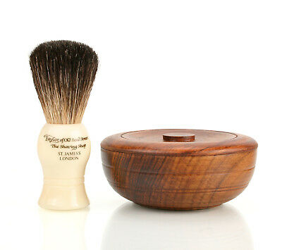 Taylor of Old Bond Street Pure Badger Brush & Shaving Soap in Wooden Bowl Set