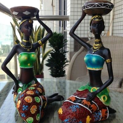 NEW African Women Beauty Lady Decorative Statue Home Decor Resin Figurine Craft