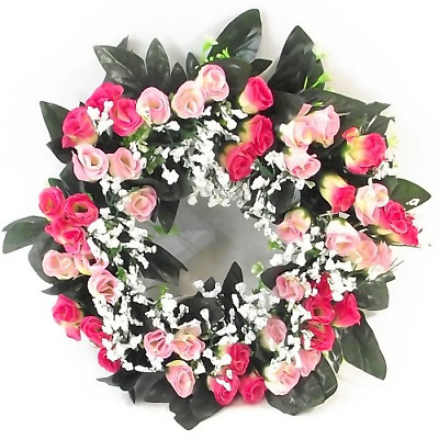 Artificial/Silk Flower Wreath Light /Dark Pink Rosebuds and Gyp Grave / Memorial