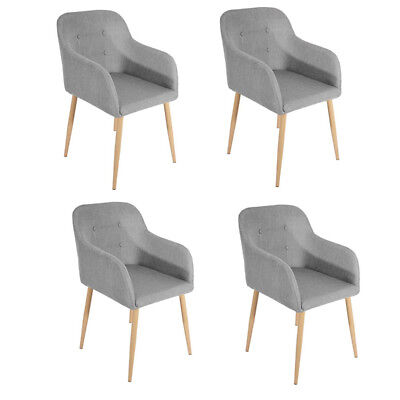 Set of 4 Lined Fabric Dining Chairs Roll Top Scroll High Back Kitchen Restaurant