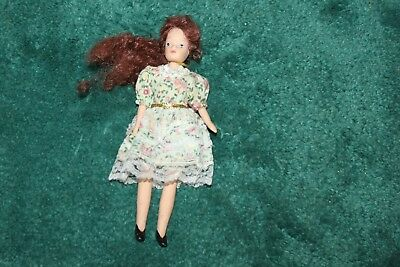 """Vintage Bisque Red Head  Doll 7"""" Tall Beautiful Face  Jointed Arms & Legs"""