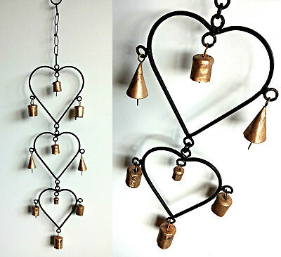 Wind Chime - 3 Heart Wrought Iron Style Metal Wall Hanging